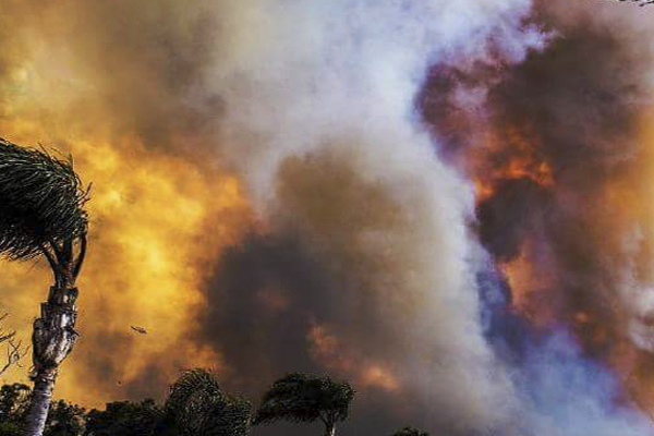 Flames and smoke colour the sky during the March fires at Tathra.