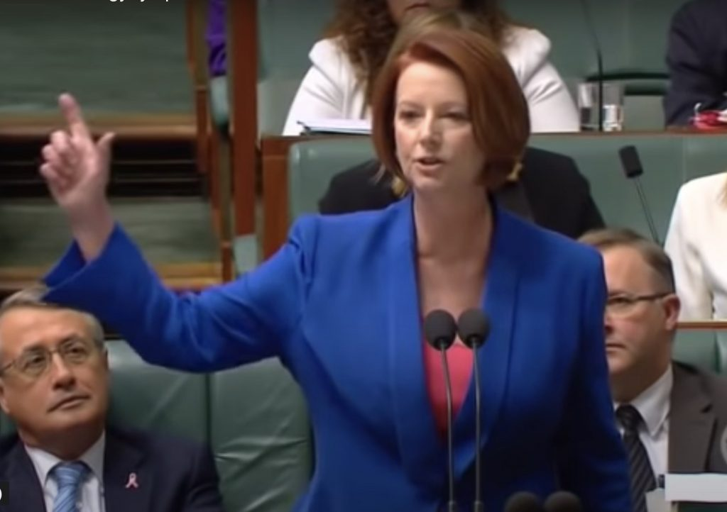 Prime Minister Julia Gillard delivers her now-famous misogyny speech in 2012