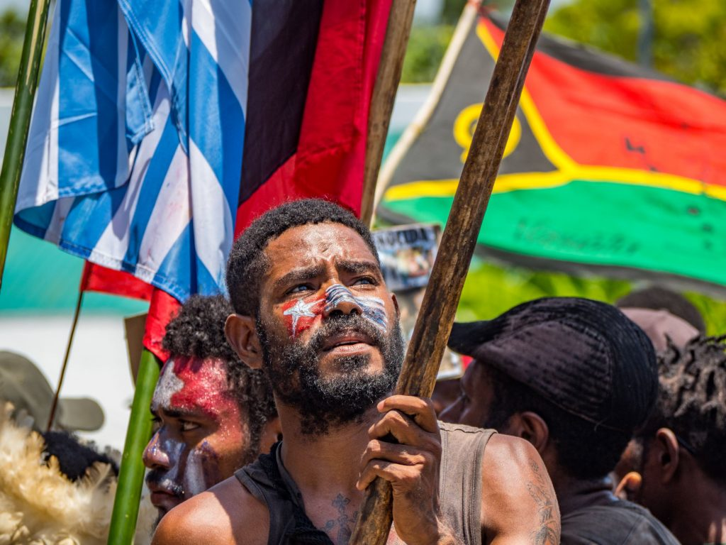 West Papuan protesting against Indonesian government. Protesting for independence from Indonesia. Free West Papua