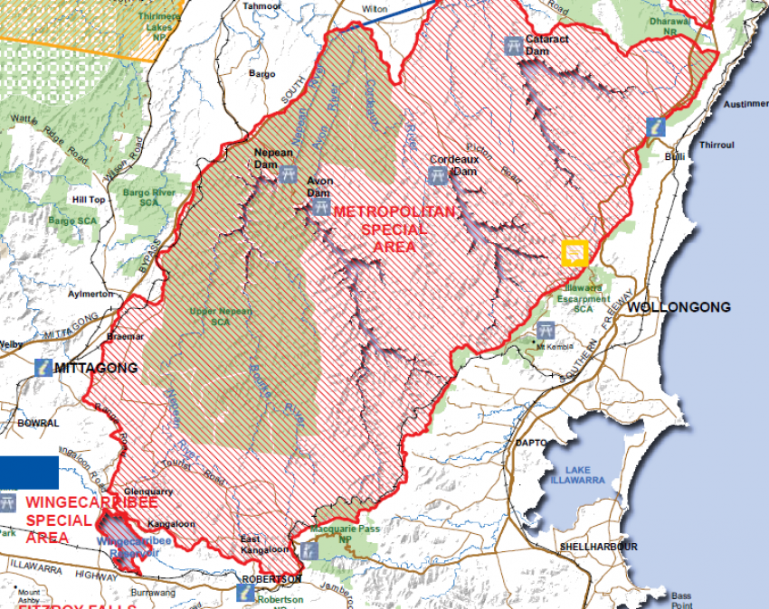 Coal Australia. Map showing the Dendrobium underground coalmine. The Special Areas are catchment lands set aside to protect the water flowing into Sydney's reservoirs. Trespassers daring to enter risk fines of up to $44,000.