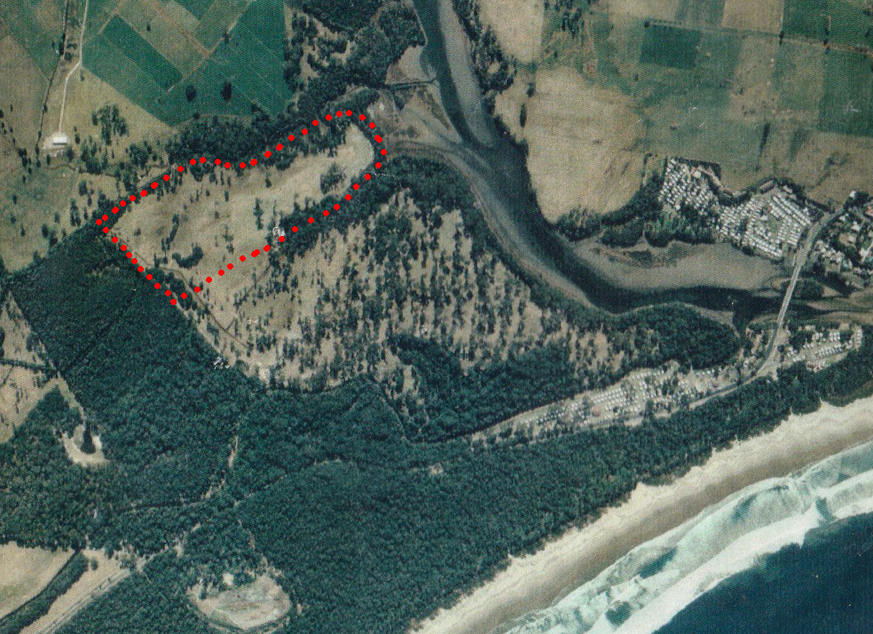 Aeriel image of Baileys Island in 2000 a few years after the clearing was completed
