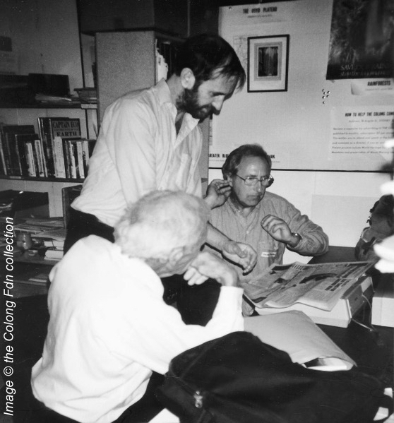 Patrick Thompson at Colong Foundation for Wilderness with Geoff Mosley and Alex Colley to plan the Blue Mountains World Heritage campaign in 1991