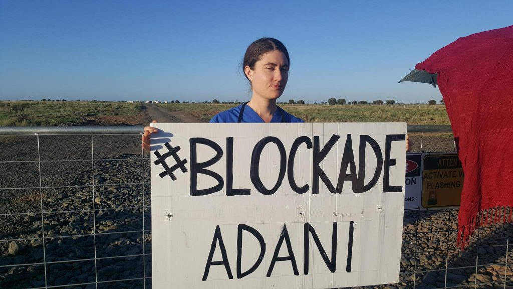 Sarah Ellyard at the frontline of a Stop Adani protest in Queensland in 2017