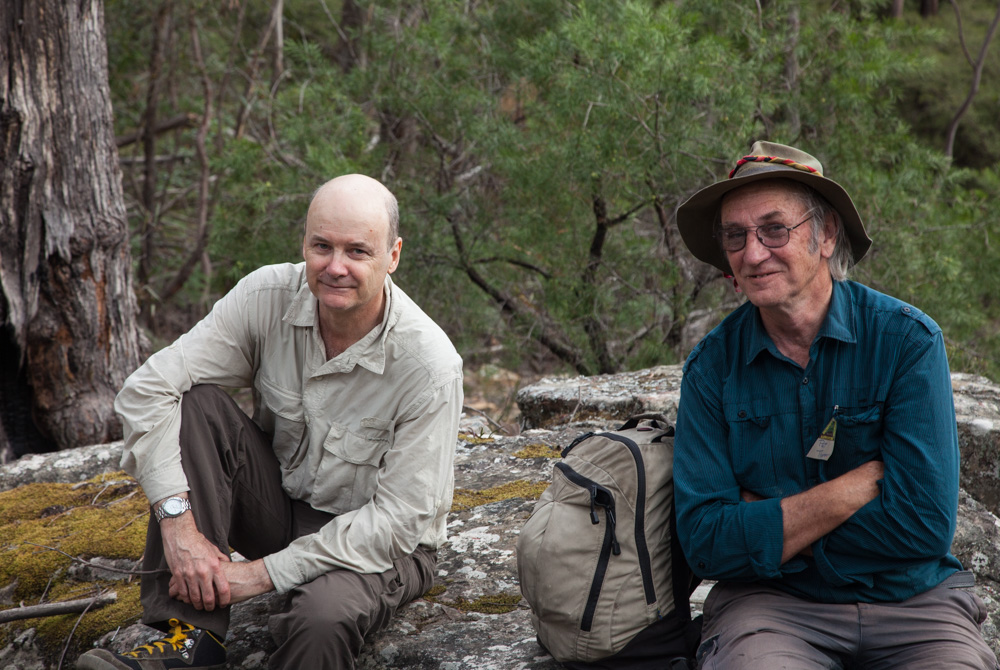 Patrick Thompson and Keith Muir on a bushwalk to remember Myles Dunphy, Blue Mountains NSW
