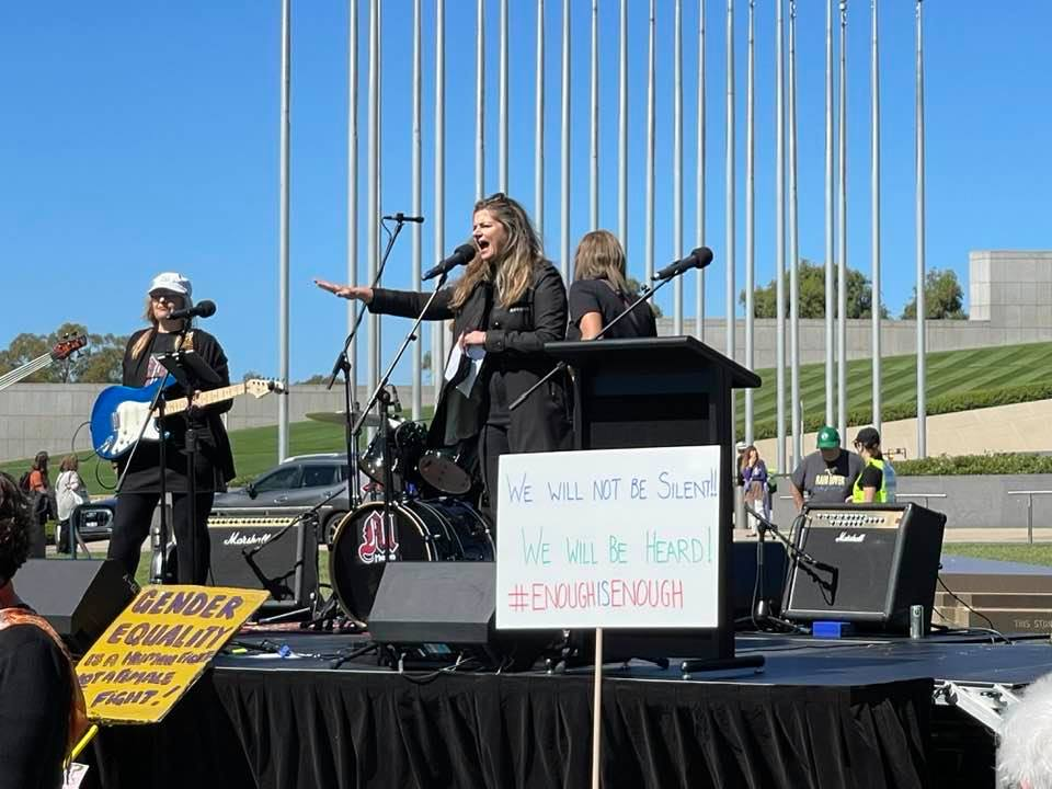 Opening of March4Justice event at Parliament House in Canberra by Julia Zemiro asking our government to step up for justice for all women