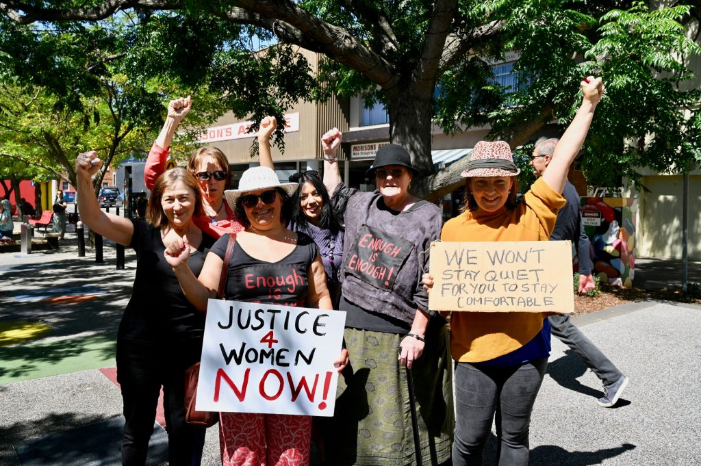 Women demanding justice now at March4Justice event in Nowra 15th of March
