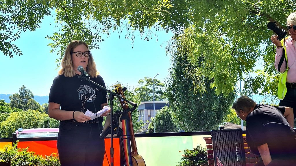 Takesa Frank speaking up for justice for all women at March4Justice event in Nowra, 15th of March at Jellybean Park. About 200-300 people turned out for the event to support women's rights