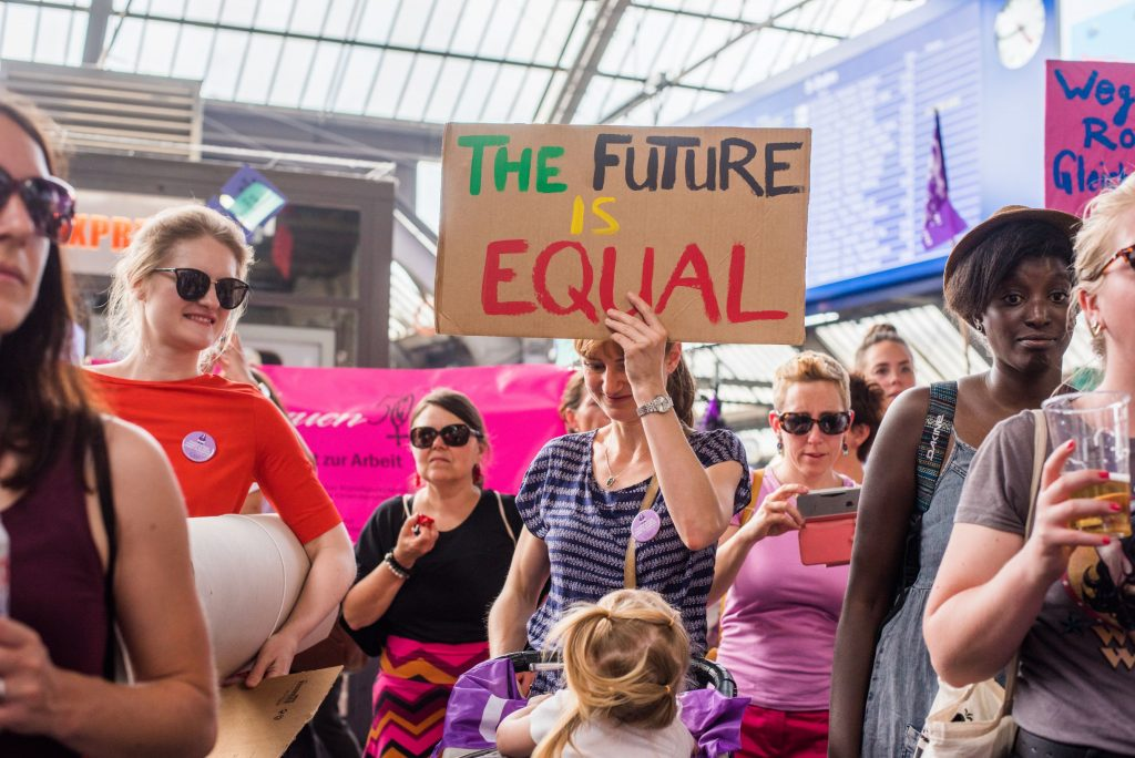 Women protesting for equal rights and equal opportunities
