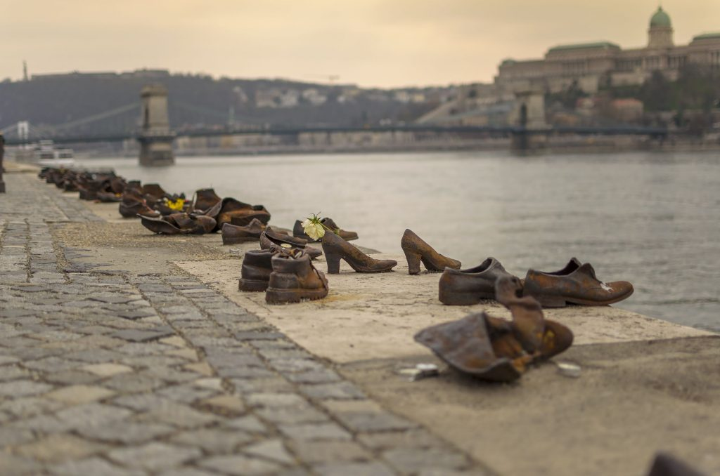 Iron shoes memorial on the banks of the Danube in Budapest, Hungary, erected in 2005 as a monument to the victims of the Holocaust