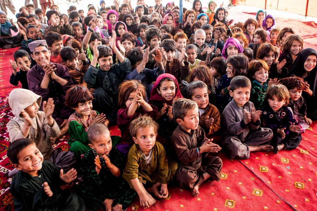 Afghani children in a refugee camp in Lahore, Pakistan