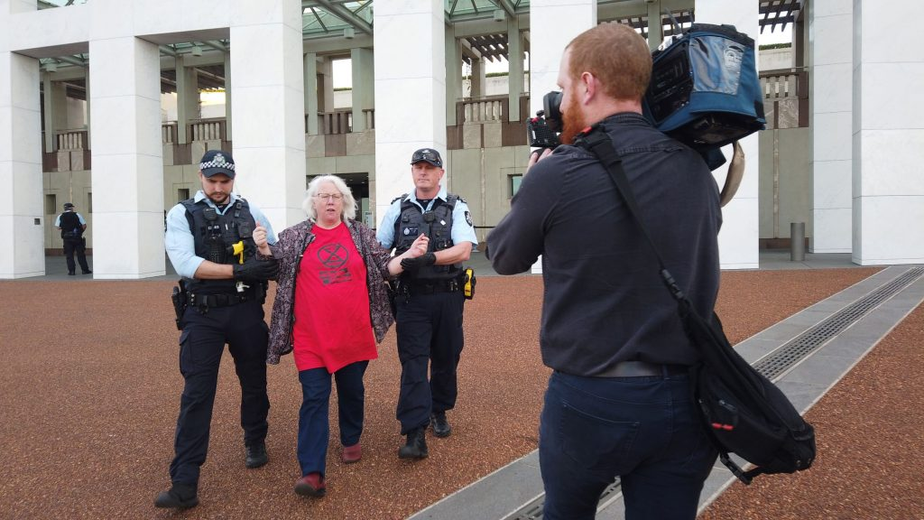 Lesley is being arrested