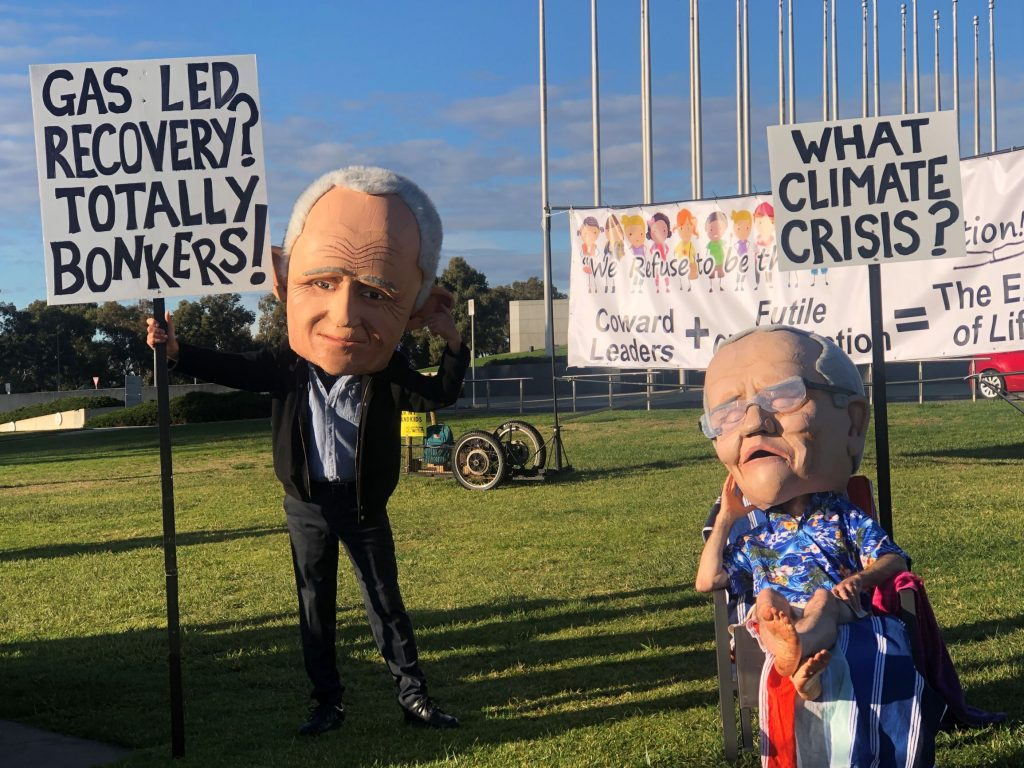 SCOMO and Turnbull puppets on Parliament lawn