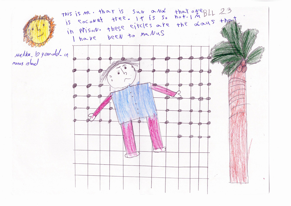 a drawing from a child that was locked up in the Manus Island immigration detention facility
