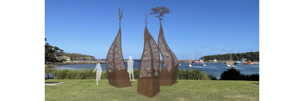 3 D image of the Gateway Public Sculpture for Ulladulla Harbour
