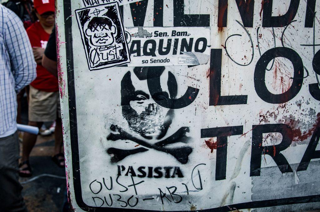 Graffiti in Metro station in Manila depicting President Duterte as a fascist