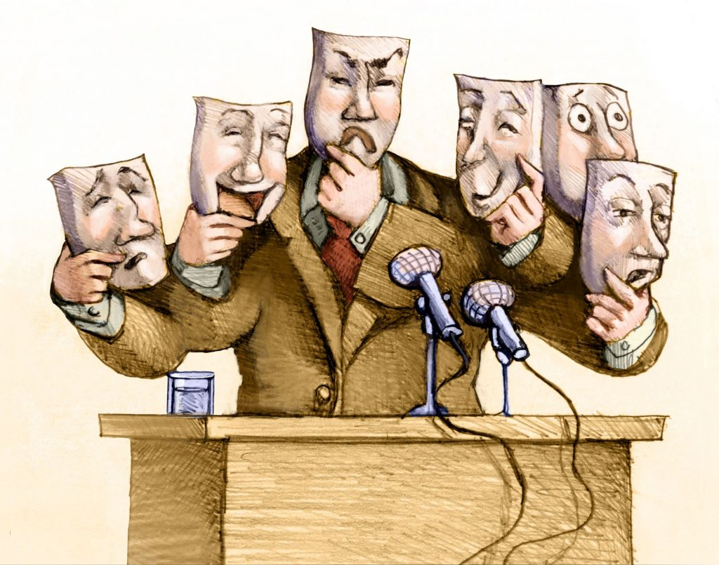 a politician speaks to the public changing masks while he speaks
