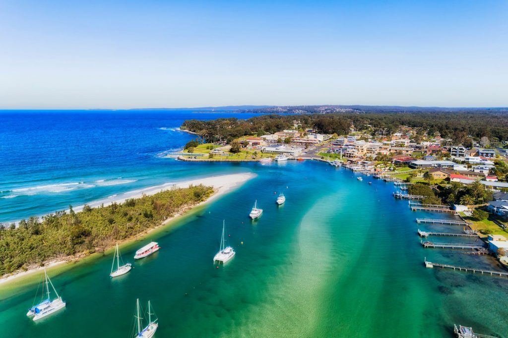 Currambene creek flowing into Jervis Bay at Huskisson NSW Australia
