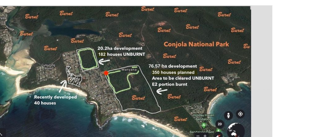Map showing burnt and unburnt forest in Manyana and locations of planned developments