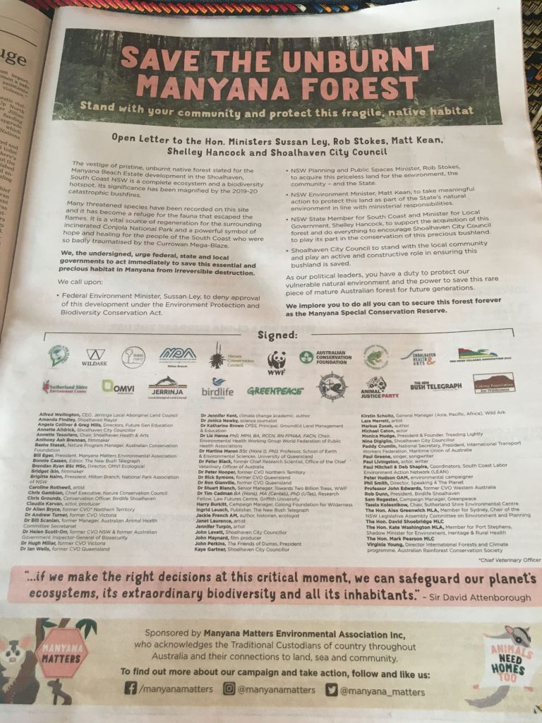 Full page ad in Sydney Morning Herald from 29 June 2021 publishing an open letter to MP's to ask for a stop to the Manyana Development
