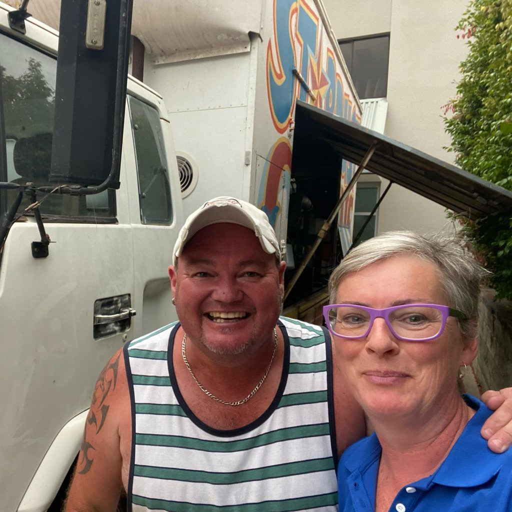 SCC Mayor Amanda Findley with Adam from Stardust Circus, the circus provided power to the Ulladulla Civic Centres with their generators during the Black Summer Bushfires, December 2019