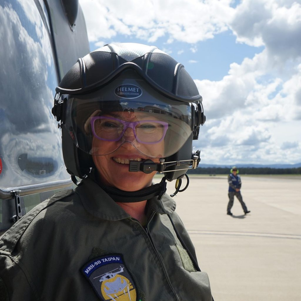 SCC Mayor Amanda Findley joined the crew in Navy helicopter dropping foor for wildlife in burnt out areas of Moreton National Park in March 2020