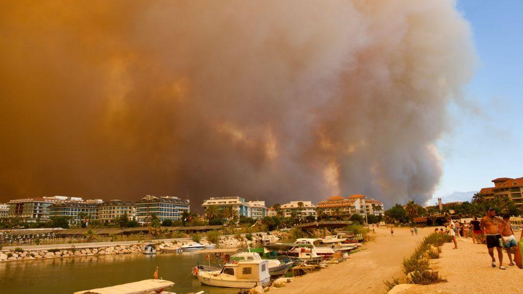 Fires threatening tourist town of Antalya in Turkey, August 2021