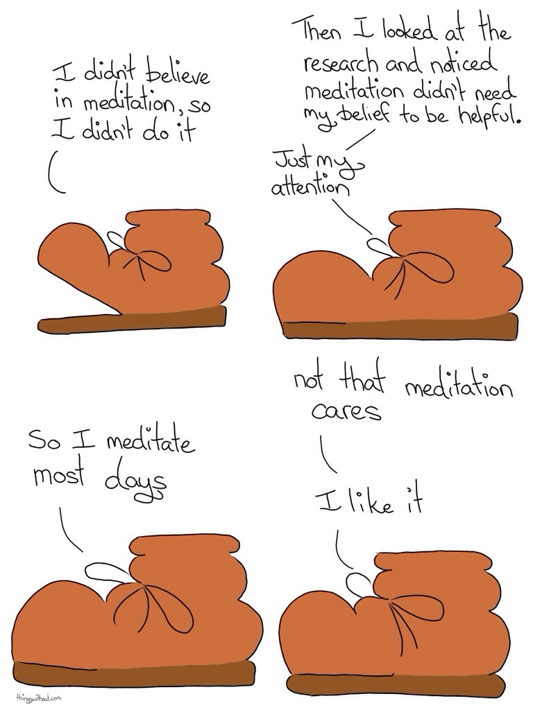 Boot meditation a comic by Liz Argall on the benefit of meditation to improve mental health