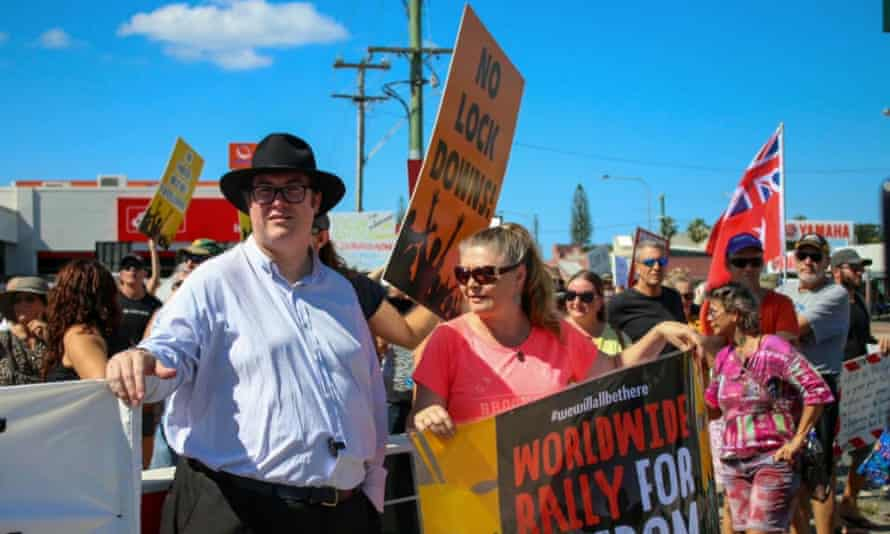 Nationals MP George Christensen attends a lawful anti-lock down protest in Mackay Queensland