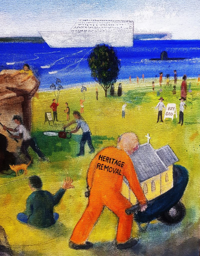Heritage removal, artwork in protest of Huskisson Church site sale and development. Artwork by Randall Sinnamon