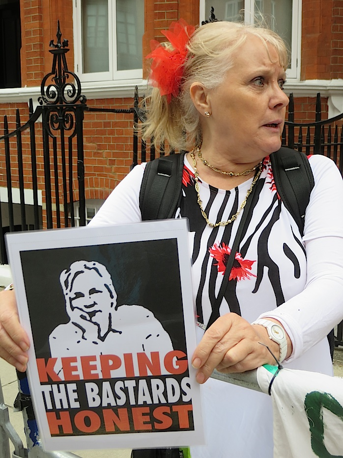 Protest in front of Ecuadorian Embassy in London in 2014 to support Weakileaks founder and journalist Julian Assange