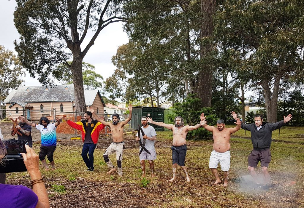smoking ceremony at Huskisson Church site where more than 50 Indigenous burial sites have been identified