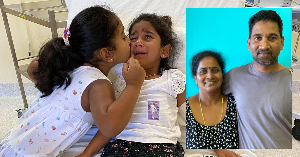 A very unwell three year old Tharnicaa was flown from Christmas Island to Perth Children's Hospital, she was diagnosed with sepsis, June 2021. Photo credit: Bring Priya, Nades and the girls home to Biloela Facebook