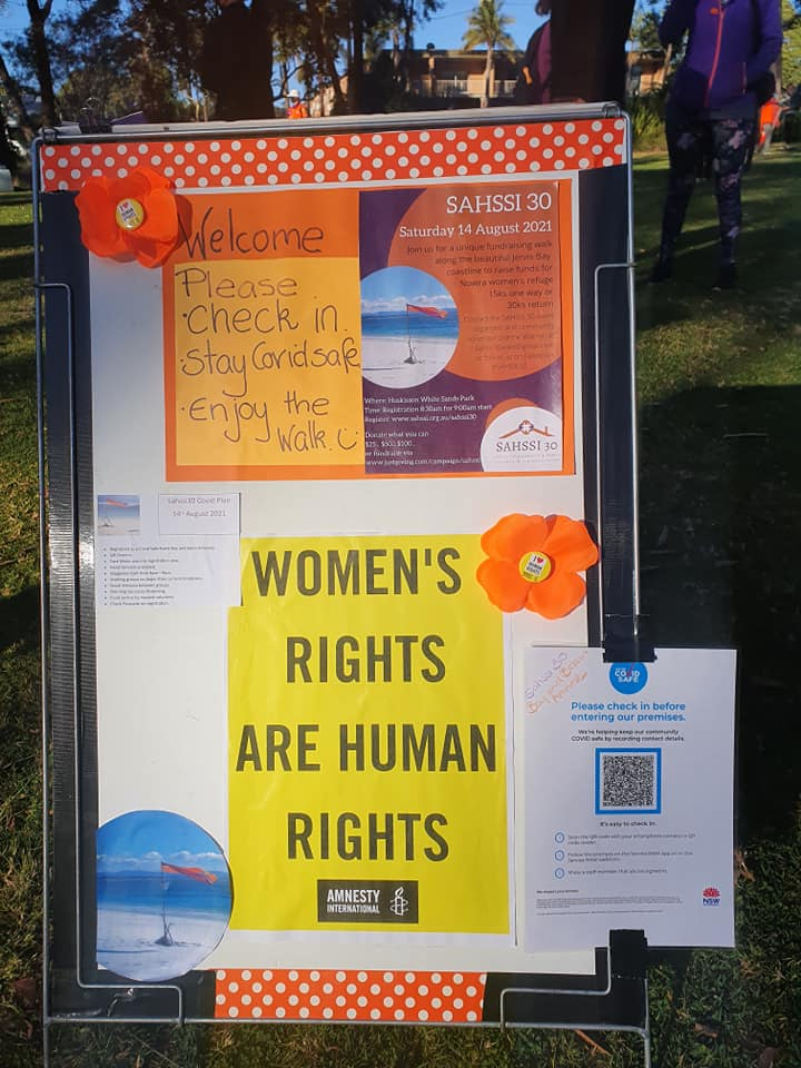 Check in sign to Sahssi30 event for 14th of August 2021 to raise funds for Shoalhaven/Illawarra women's refuge