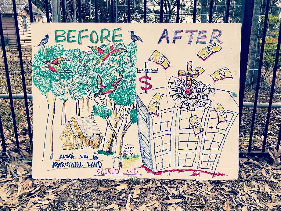 before and after development protest banner at Huskisson Church