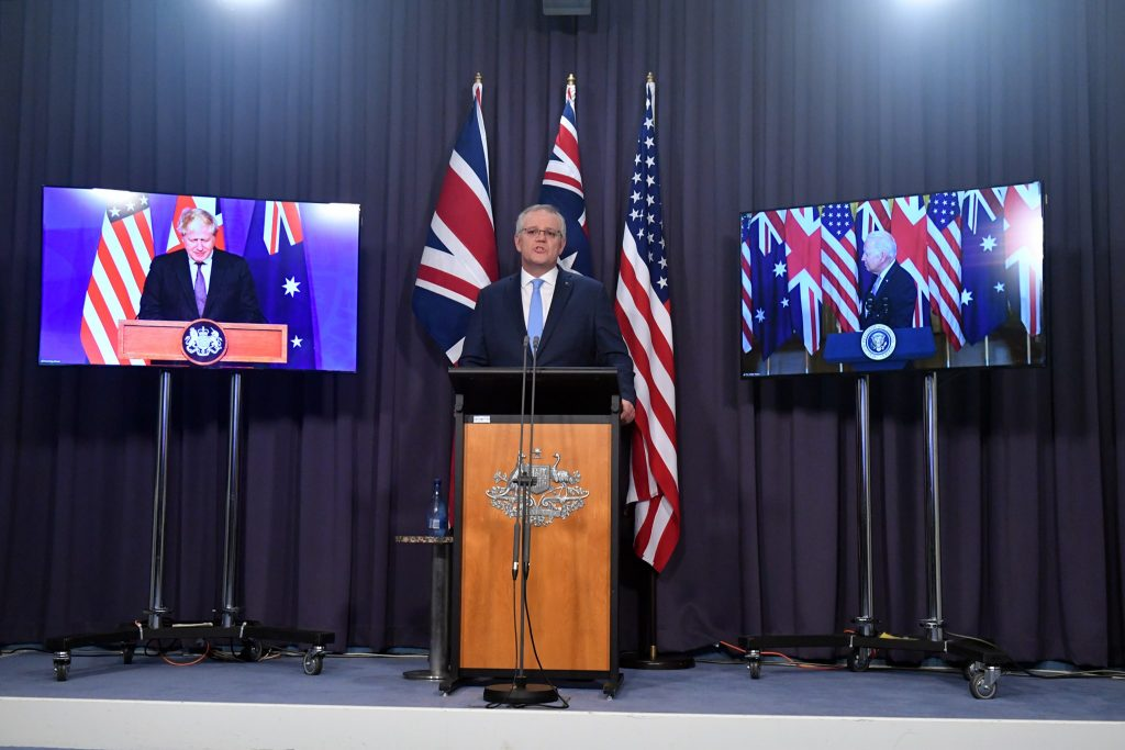AUKUS - the triliteral security alliance between Australia, US and UK grants Australia access to nuclear submarine technology