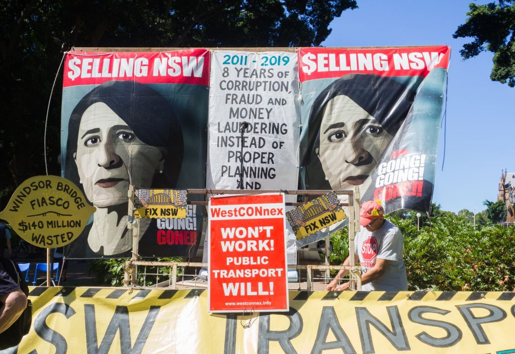 Protest in Sydney in March 2019 against NSW Premier Gladys Berejiklian's many expensive and unwanted development projects