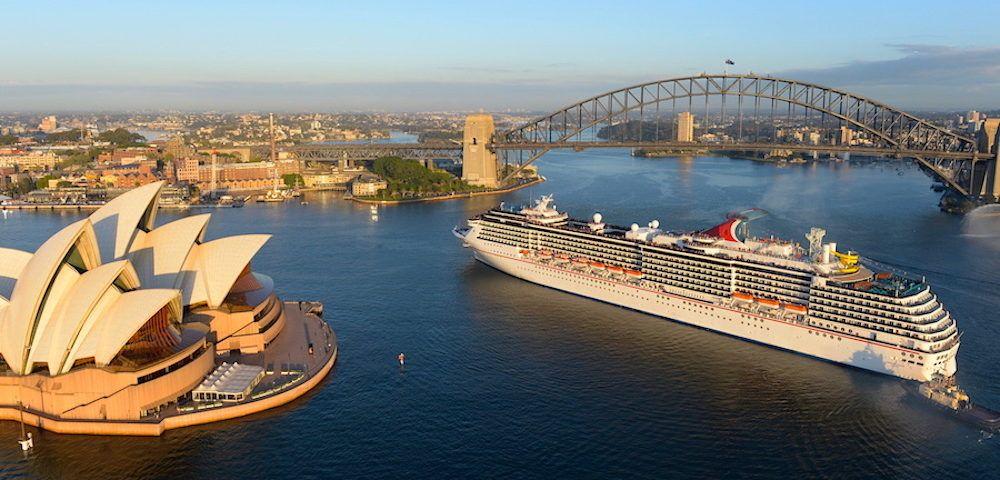 A large cruise ship entering Sydney Harbour