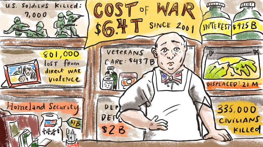The cost of war poster showing economic, human costs of war